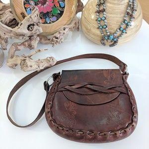 Vintage 1970's tooled leather Saddle Bag